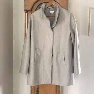 J Crew City Coat Lined Wool Cocoon Jacket 10 Grey